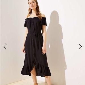 The loft off the shoulder black dress